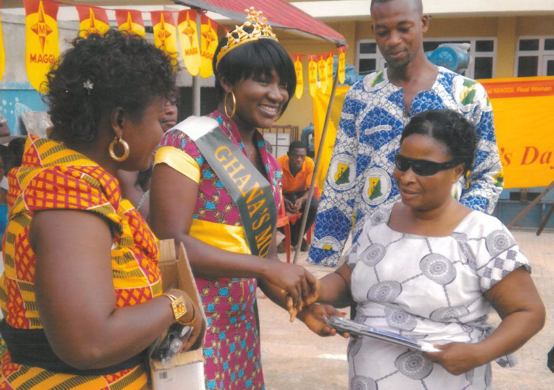 Donation of white canes to blind mothers during a Mother's Day Celebration held by Abrabo Musem Dosu.