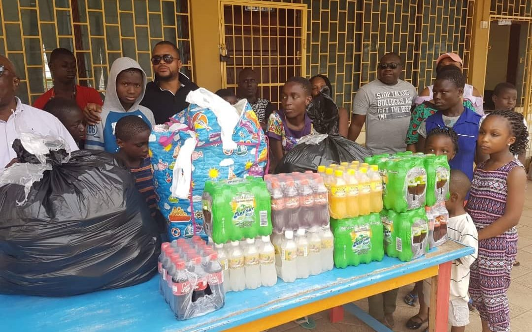 Donation of clothes and beverages at the Osu Children's Home